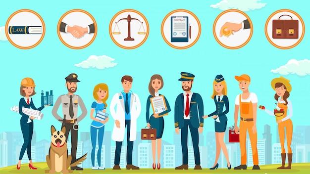 A empresa de lei protege o vetor dos cidadãos dos direitos horizontalmente. Vetor Premium