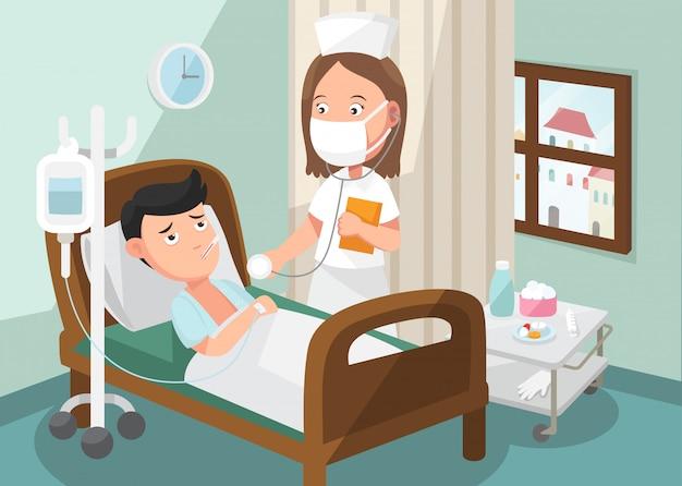 A enfermeira cuidando do paciente na enfermaria do hospital Vetor Premium