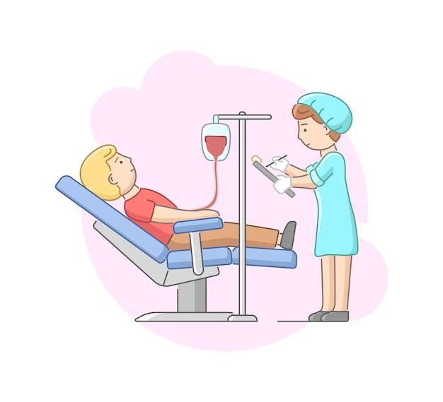 A enfermeira no uniforme controla o procedimento e faz anotações Vetor Premium