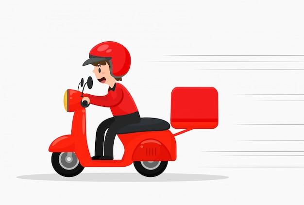 A equipe de entrega de pizza está dirigindo motocicletas rapidamente. Vetor Premium