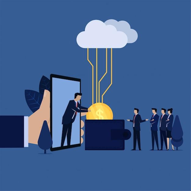 A equipe do negócio obtém a moeda na carteira da metáfora do telefone do pagamento em linha. Vetor Premium