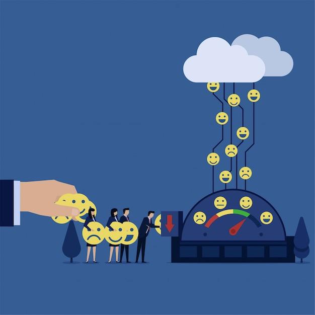 A equipe do negócio pôs ícones à metáfora do medidor de avaliação de dá a revisão. Vetor Premium