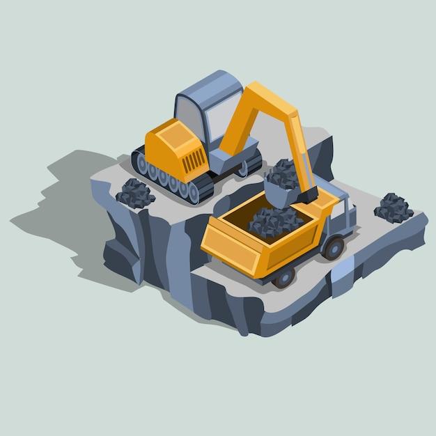 A escavadeira de mineração carrega carvão em um vetor isométrico de caminhão de descarga Vetor grátis