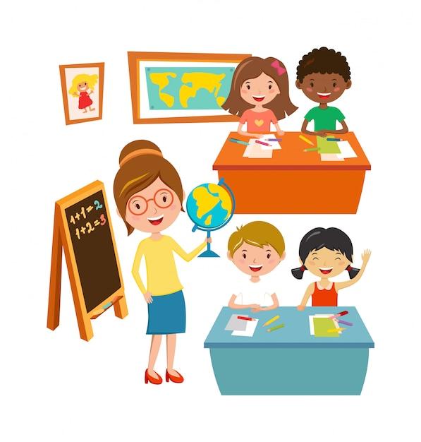 A escola caçoa a aprendizagem da escola primária da educação e o vetor do conceito dos povos. Vetor Premium