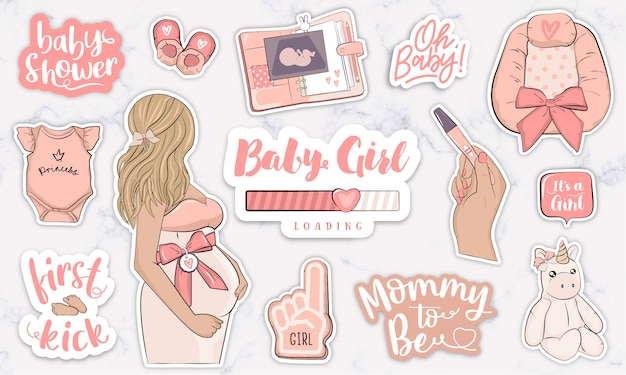 À espera de adesivos de clipart de berçário de bebê menina para scrapbooking Vetor Premium