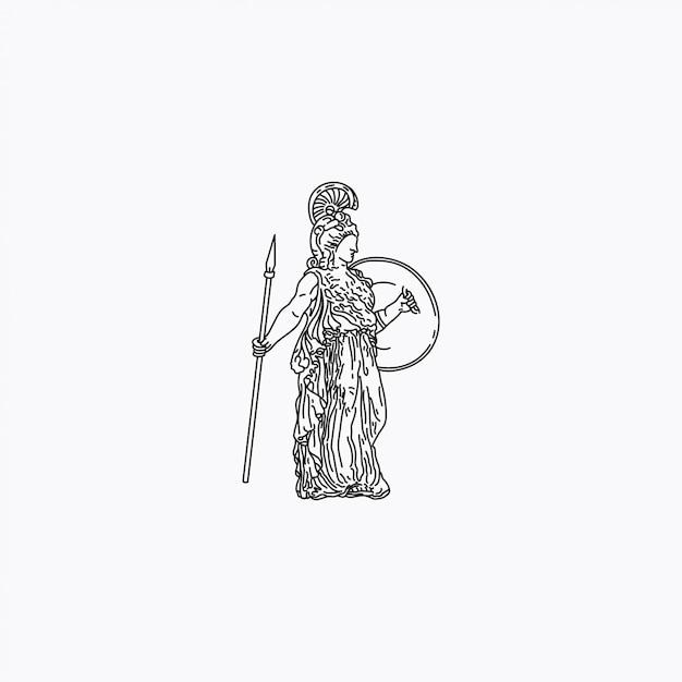 A estátua romana da menina Vetor Premium