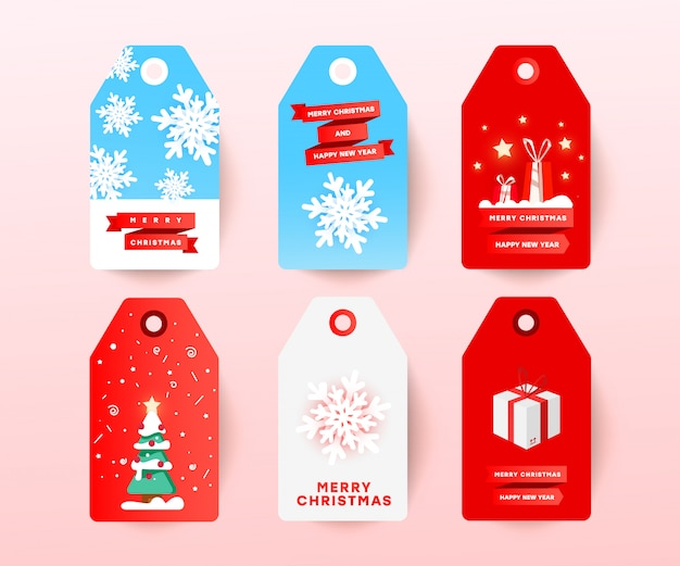 A etiqueta da venda do natal ajustou-se com a decoração editável do feriado isolada no branco. etiqueta com papel cortado com bolas de neve, árvore de natal, presentes surpresa e texto com desconto. Vetor Premium