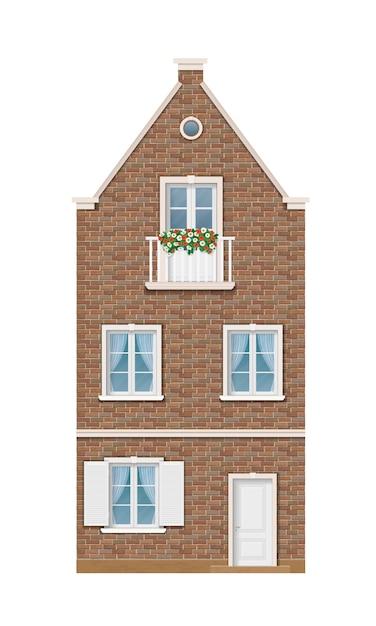 A fachada histórica da casa de tijolos europeus. Vetor Premium