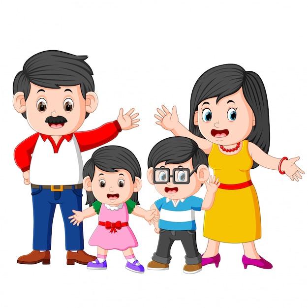 A família feliz está fazendo posando com a boa expressão Vetor Premium
