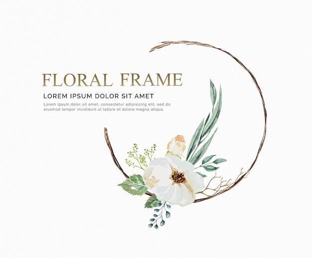 A flor floral da videira da aquarela do frame e a licença para wedding convidam o cartão. Vetor Premium