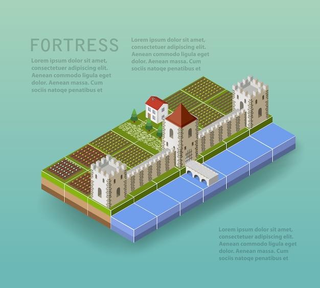 A fortaleza com torres defensivas, um fosso, uma ponte e edifícios rurais e casas. Vetor Premium