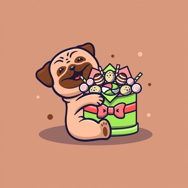A foto de um cachorro abraçando uma caixa de doces. o cachorrinho engraçado Vetor Premium