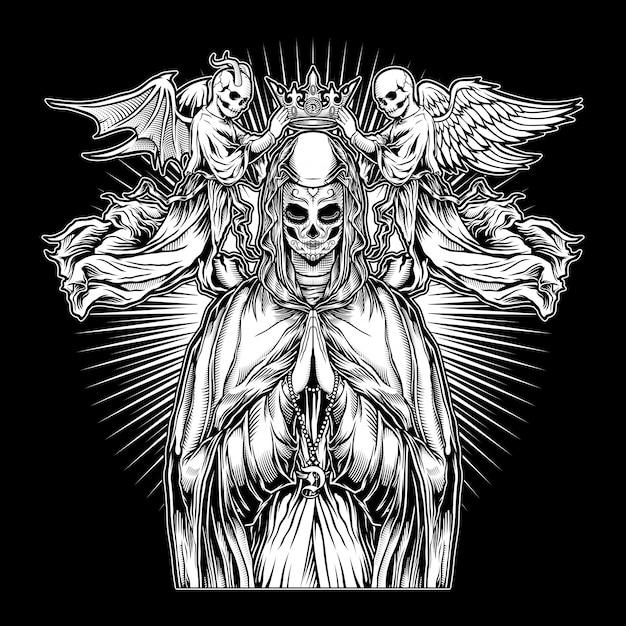 A freira, o poder da oração Vetor Premium