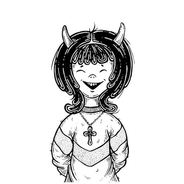 A garota é um demônio. Vetor Premium