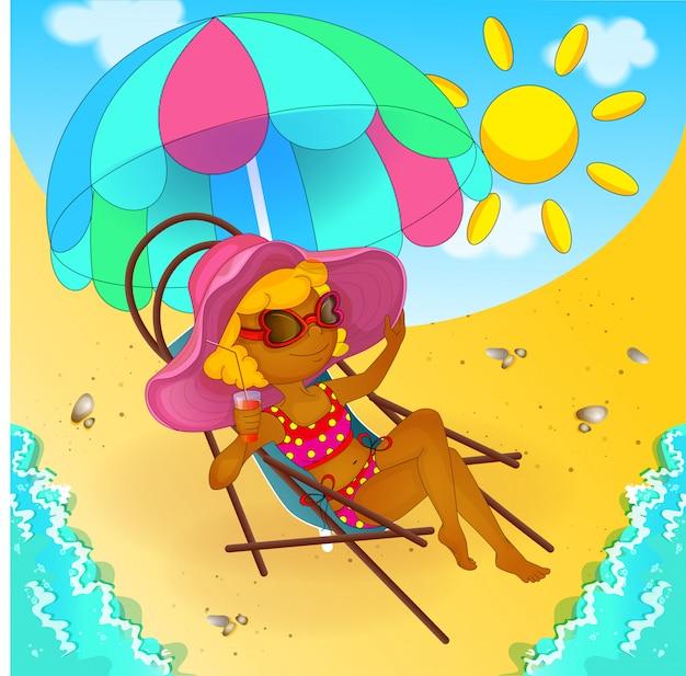 A garota está tomando banho de sol e bebendo suco. Vetor Premium