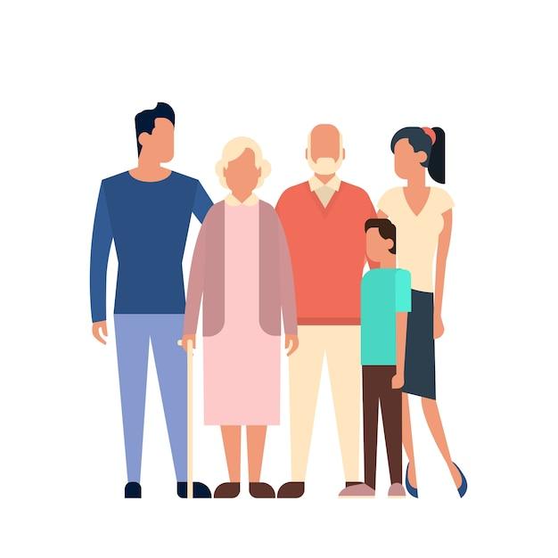 A grande família caçoa a geração dos avós dos pais Vetor Premium