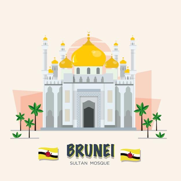A grande mesquita. marco do brunei. conjunto asean. Vetor Premium