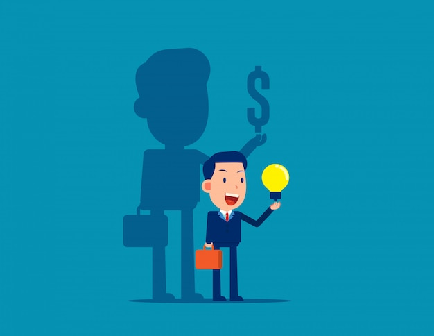 A ideia de ganhar dinheiro para os negócios Vetor Premium
