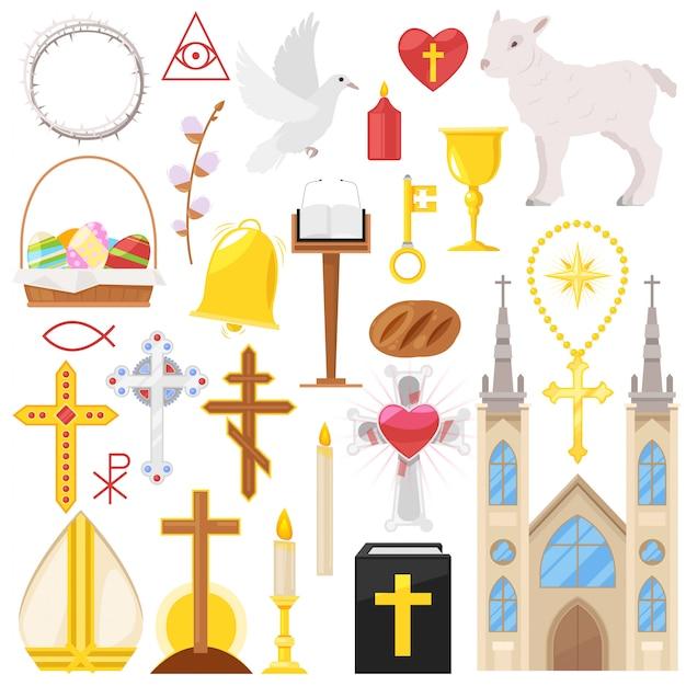 A igreja ou a catedral católica da religião e religioso canta do conjunto da ilustração do cristianismo da cruz cristã ou da bíblia com velas no fundo branco Vetor Premium