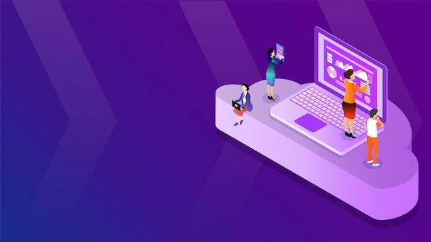 A ilustração 3d isométrica de pessoas de negócios mantém dados de dispositivos digitais. Vetor Premium