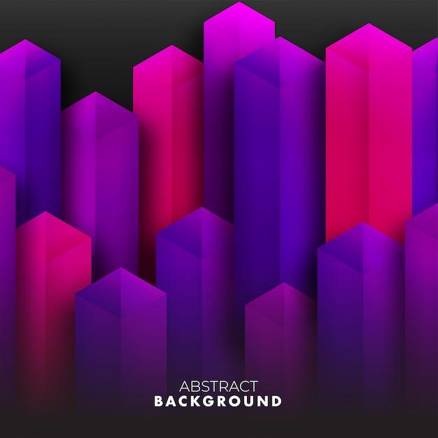 A ilustração abstrata do fundo 3d das construções roxas da cidade rende. Vetor Premium