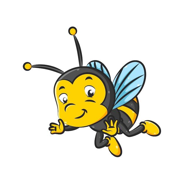 A ilustração da abelhinha com a cor preta e amarela está voando com as pequenas asas Vetor Premium