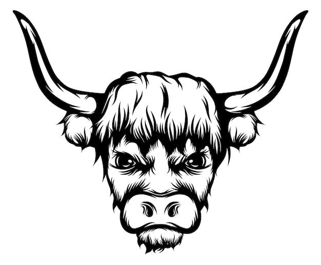 A ilustração da tatuagem do grande touro com longos chifres Vetor Premium