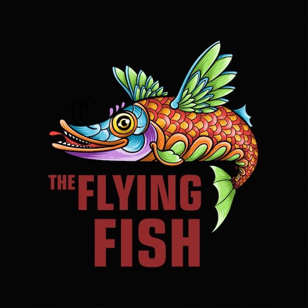 A ilustração de mascote de peixe voador Vetor Premium