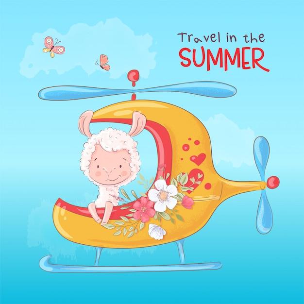 A ilustração de uma cópia para a sala das crianças veste o lama bonito pelo helicóptero com flores. Vetor Premium