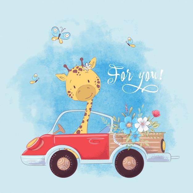 A ilustração de uma cópia para a sala de crianças veste o girafa bonito no caminhão com flores. Vetor Premium