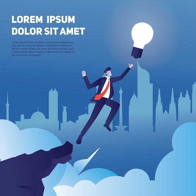 A ilustração do conceito de empresário salta para o céu para ter uma ideia, defina uma meta com uma caminhada sobre o penhasco Vetor Premium