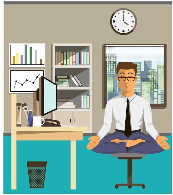 A ilustração do conceito de relaxa e trabalha o balanço. homem de escritório fazendo yoga para acalmar a emoção estressante de trabalho multi-tasking e muito ocupado. Vetor Premium