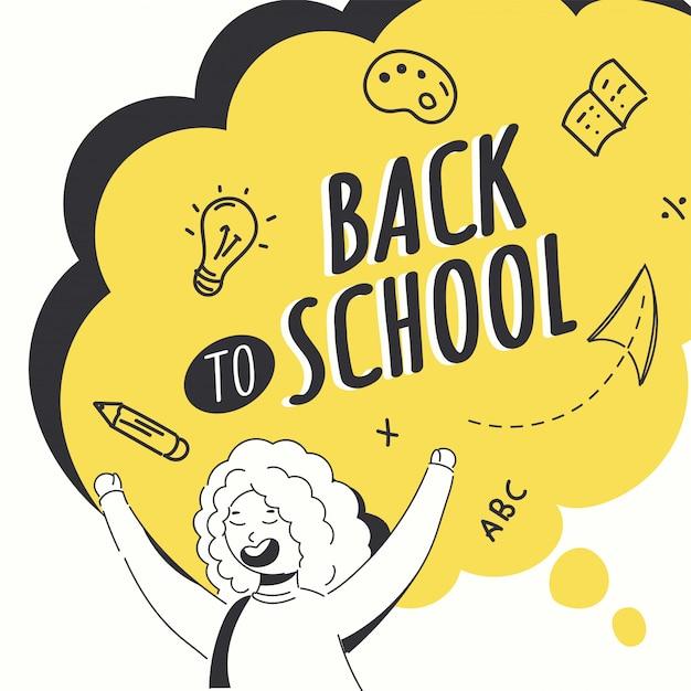 A ilustração do estilo da garatuja do caráter alegre da menina com educação fornece elementos no fundo amarelo e branco da bolha do discurso para de volta ao conceito da escola. Vetor Premium