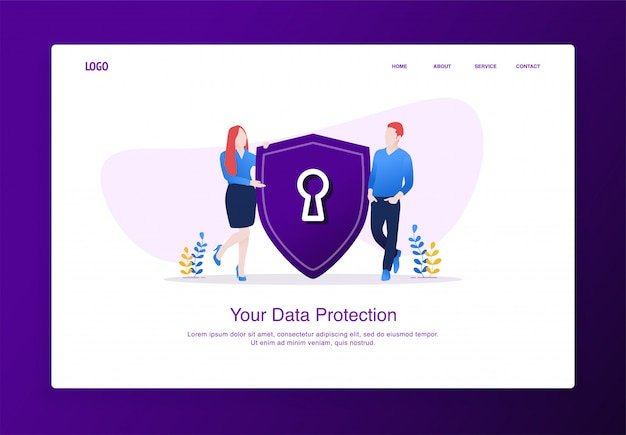 A ilustração dos homens e das mulheres introduziu a segurança do protetor. conceito moderno design plano, modelo de página de destino. Vetor Premium