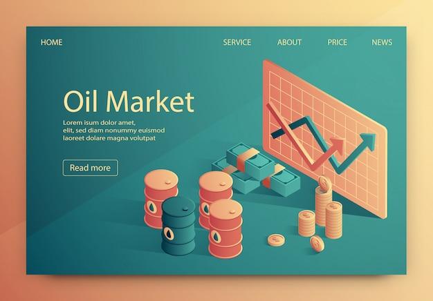 A ilustração é escrita mercado de petróleo isométrico. Vetor Premium