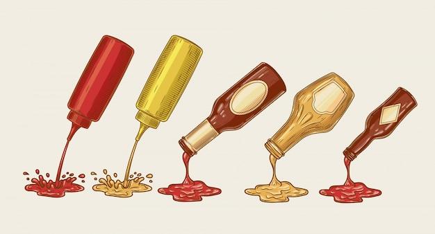 A ilustração vetorial de um conjunto de estilo de gravura de molhos diferentes é derramada de garrafas Vetor grátis