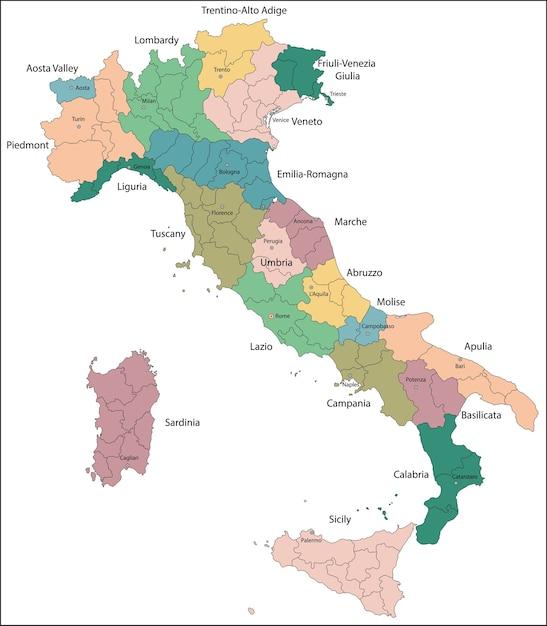 A itália é uma república parlamentar unitária na europa Vetor Premium