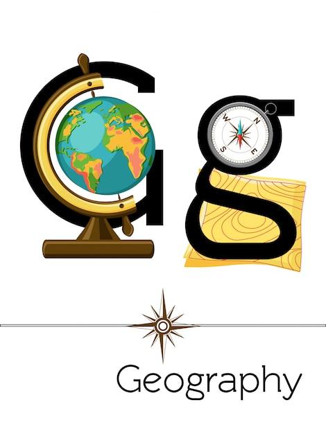 A letra do cartão flash g é para geografia. Vetor Premium