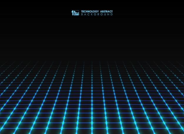 A linha de grade quadrada futurista abstrata teste padrão conecta o fundo. Vetor Premium