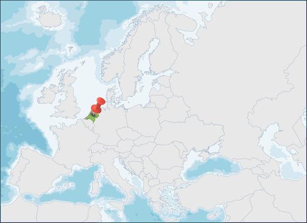 A localização da holanda no mapa da europa Vetor Premium