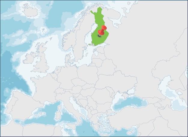 A localização da república da finlândia no mapa da europa Vetor Premium