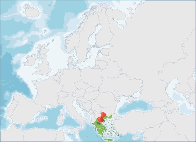 A localização da república helênica no mapa da europa Vetor Premium
