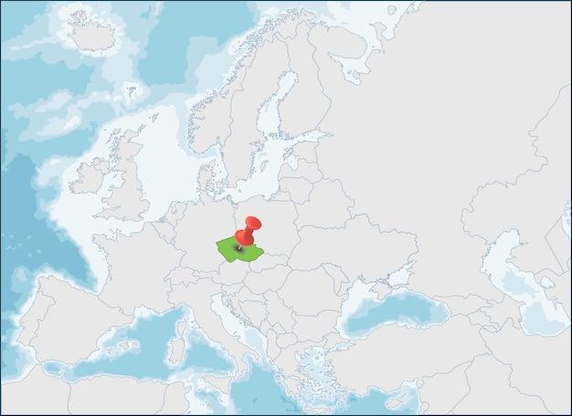 A localização da república tcheca no mapa da europa Vetor Premium