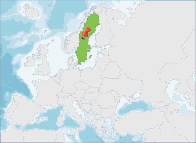 A localização do reino da suécia no mapa da europa Vetor Premium