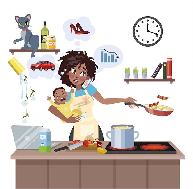 A mãe ocupada e multitarefa com o bebê não conseguia fazer muitas coisas ao mesmo tempo. mulher cansada em estresse com bagunça. estilo de vida de dona de casa. ilustração Vetor Premium