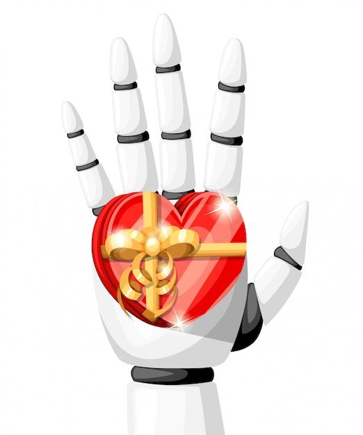 A mão do robô branco ou braço robótico para próteses tem um presente na forma de um coração com uma ilustração de arco dourado na página do site com fundo branco e no aplicativo móvel Vetor Premium