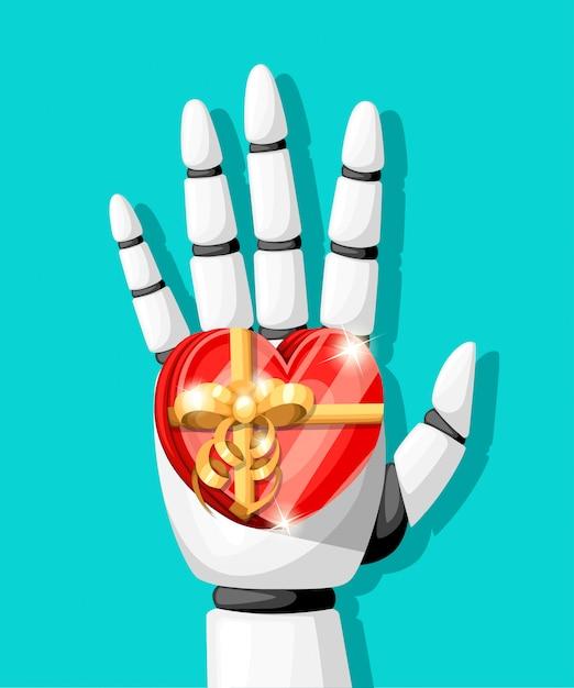 A mão do robô branco ou braço robótico para próteses tem um presente na forma de um coração com uma ilustração de arco dourado na página do site com fundo turquesa e no aplicativo móvel Vetor Premium