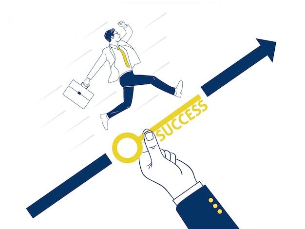 A mão grande ajuda o homem de negócios a conseguir um alvo. Vetor Premium