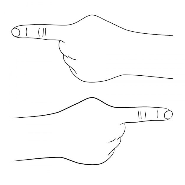 A mão humana aponta com uma ilustração de dedo. Vetor Premium