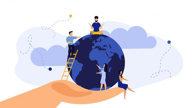 A mão salvar o conceito do ambiente da ilustração do globo da terra do mundo. Vetor Premium